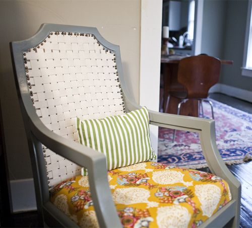 Broken Cane Back Chair Makeover With Cotton Webbing, Paint, And Fabric