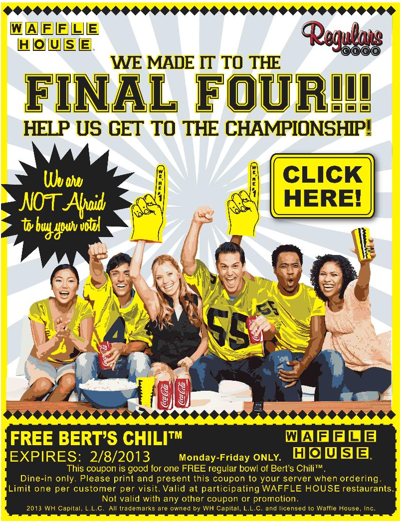 Waffle House Deal! Waffle house, Free food samples, Find