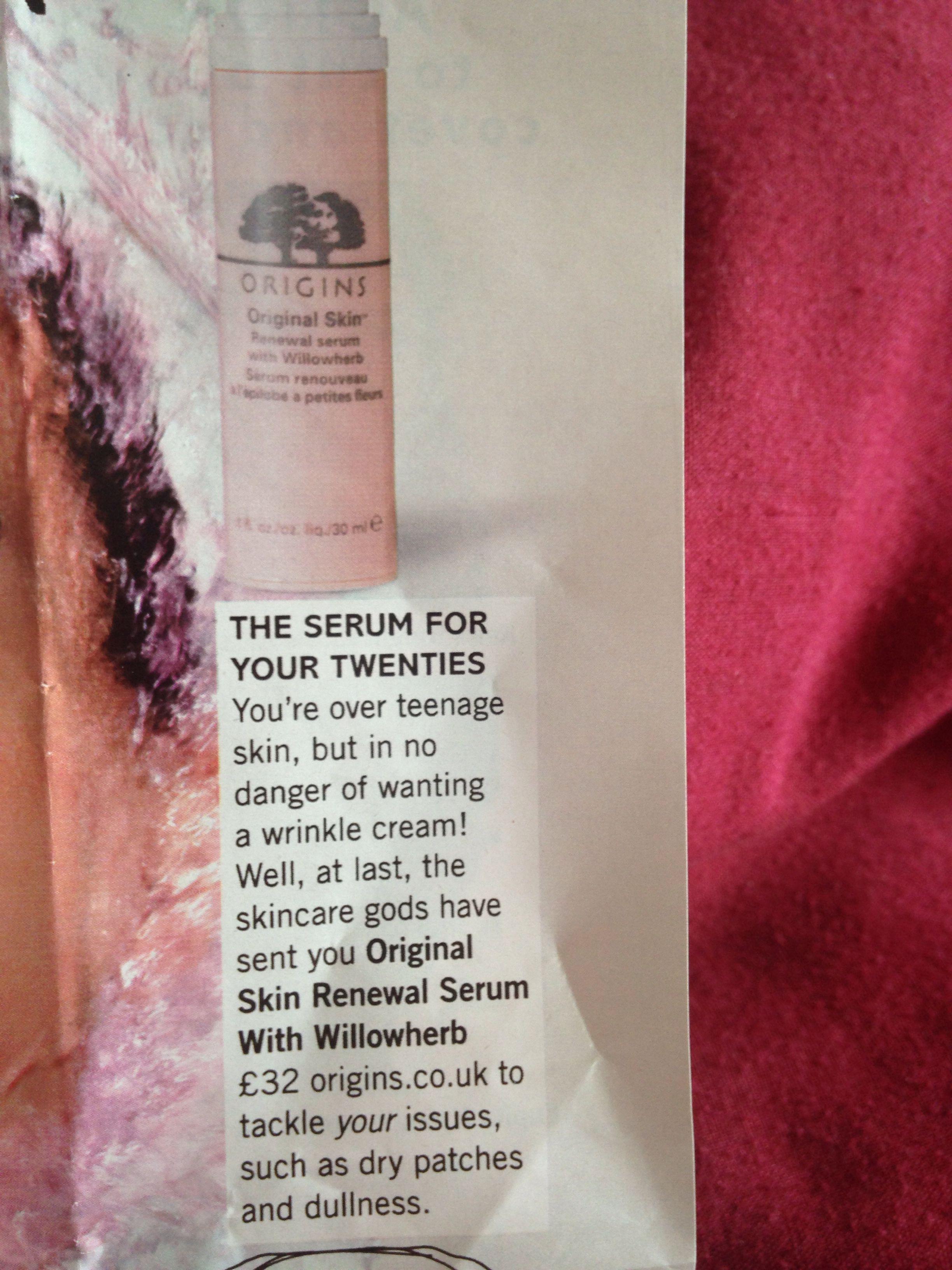 Origins skin renewal serum with willow herb £32