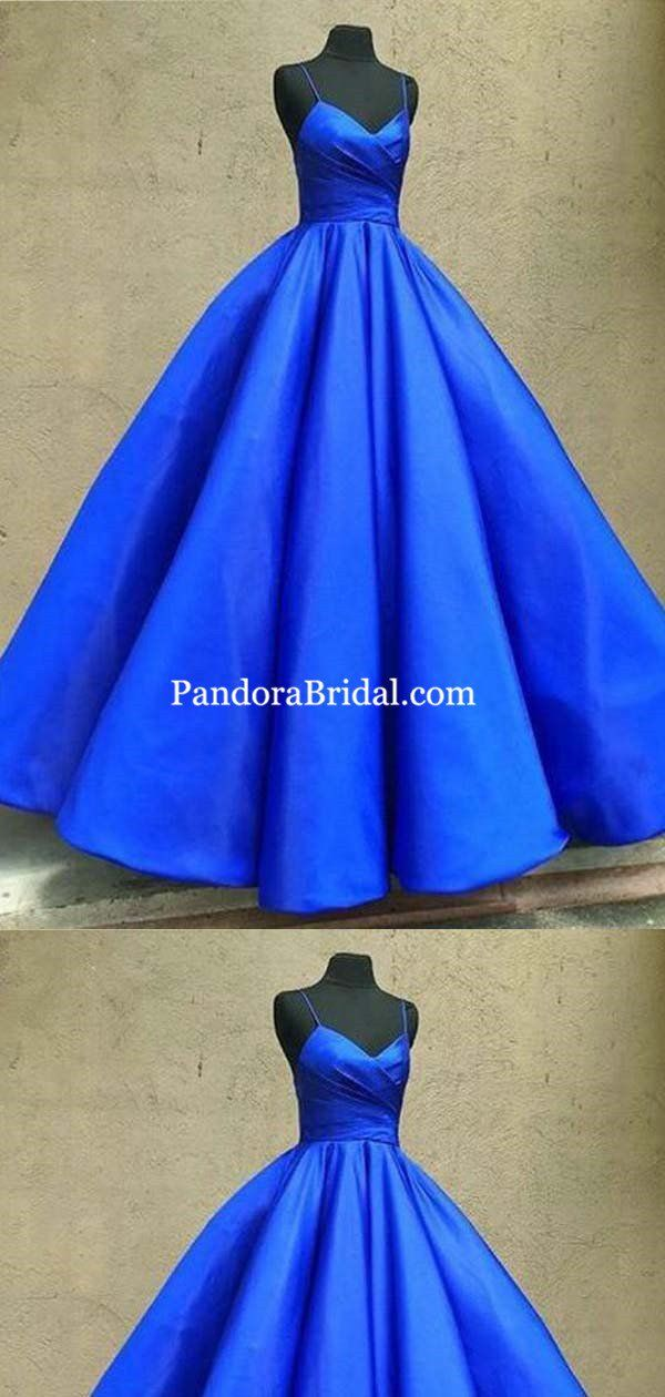 Gorgeous Royal Blue Spaghetti Straps With Pleated Ball Gown Prom Dresses Prom Dresses Pd0293 Prom Dresses Ball Gown Blue Ball Gowns Ball Gowns