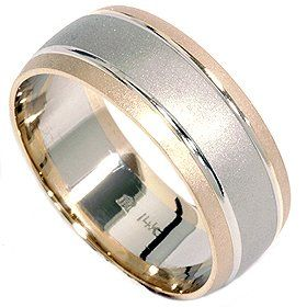 Pompeii3 Inc 14k White Yellow Gold Mens Two Tone Brushed 8mm