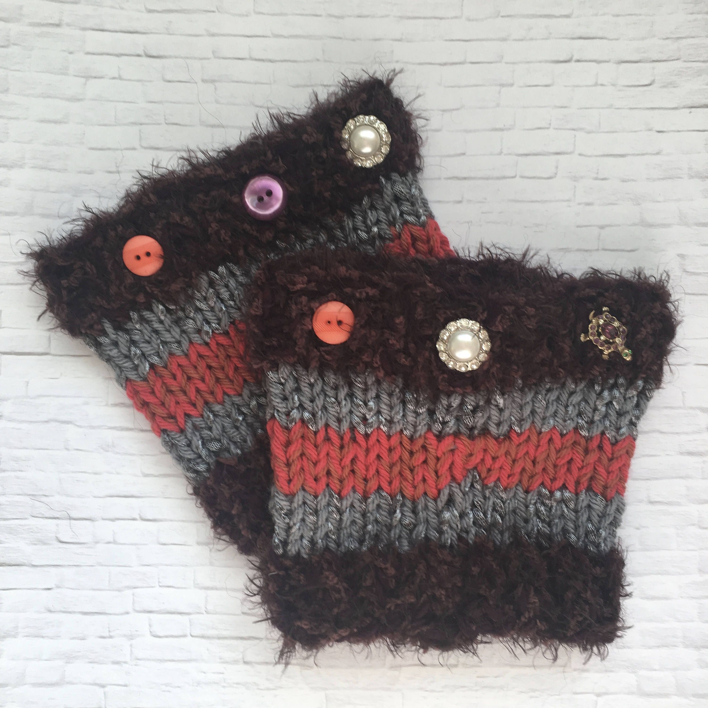 Hand Knit Chunky Boot Cuffs | Purple, Coral, Grey | Buttons Details ...