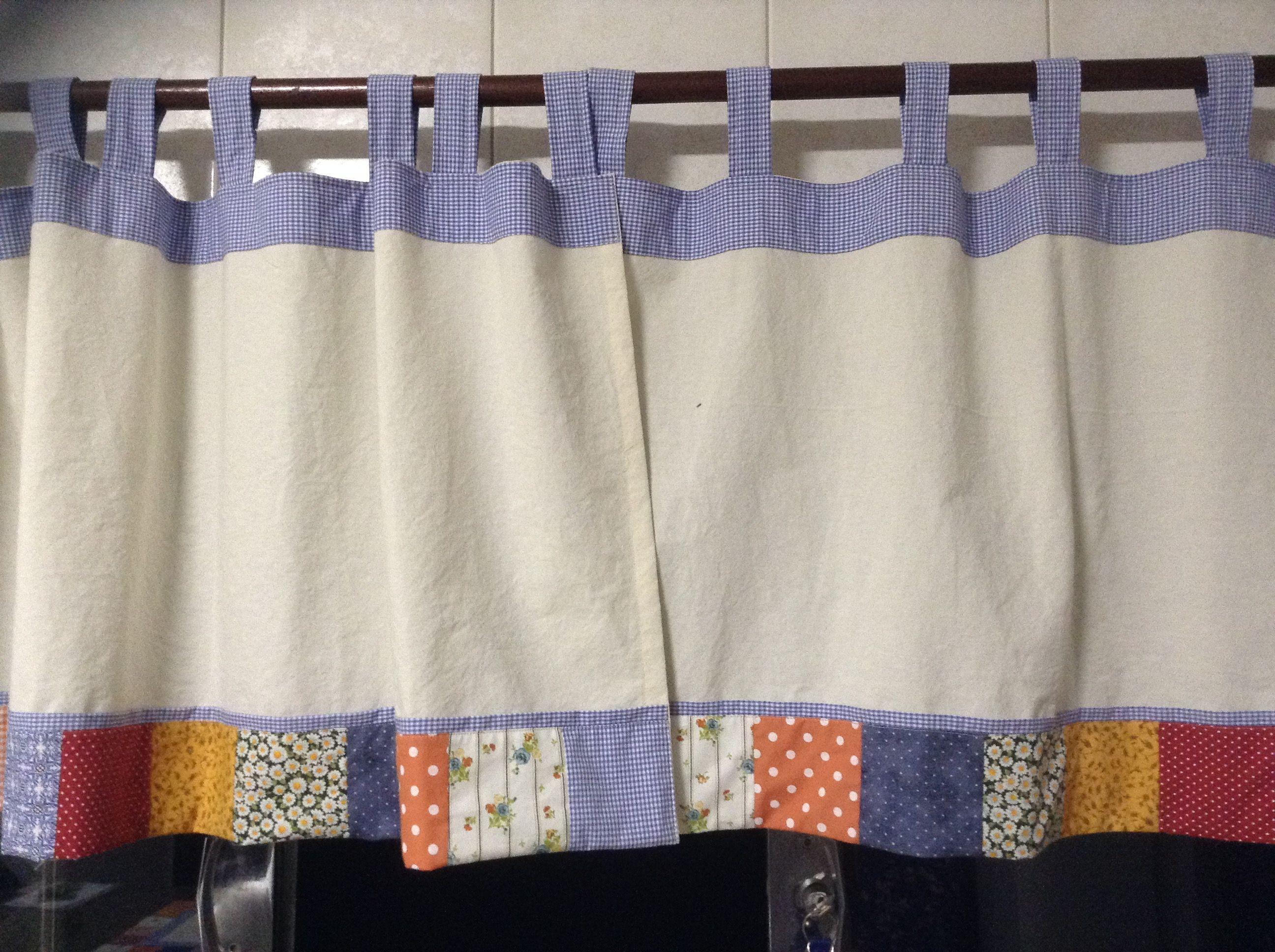 Cortina De Cozinha Em Tecido Cru Com Aplica O Em Tecidos Coloridos