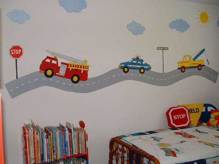 Room Ideas · Transportation Themed Wall Mural For Toddler ...