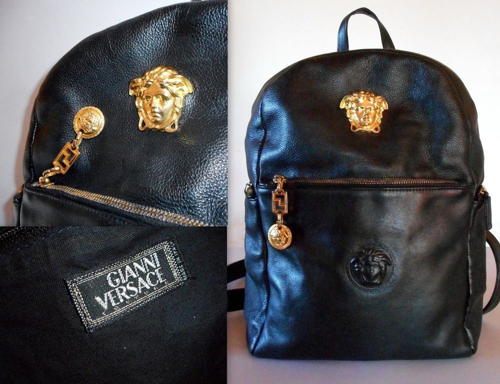 GIANNI VERSACE COUTURE MEDUSA HEAD BACKPACK-RAREST VINTAGE 1990s-SIMPLY  SUPERB dc59ee7bef05b