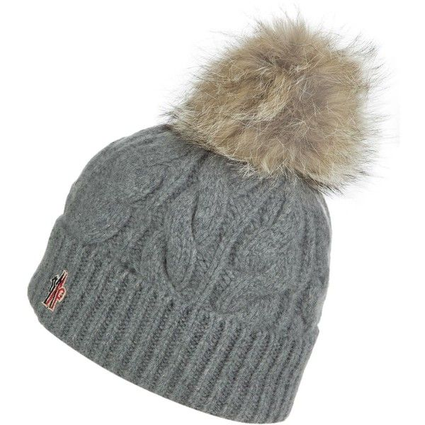 Moncler Berretto Cable Knit Pom Beanie ( 345) ❤ liked on Polyvore featuring  accessories 6c81db9e38f5