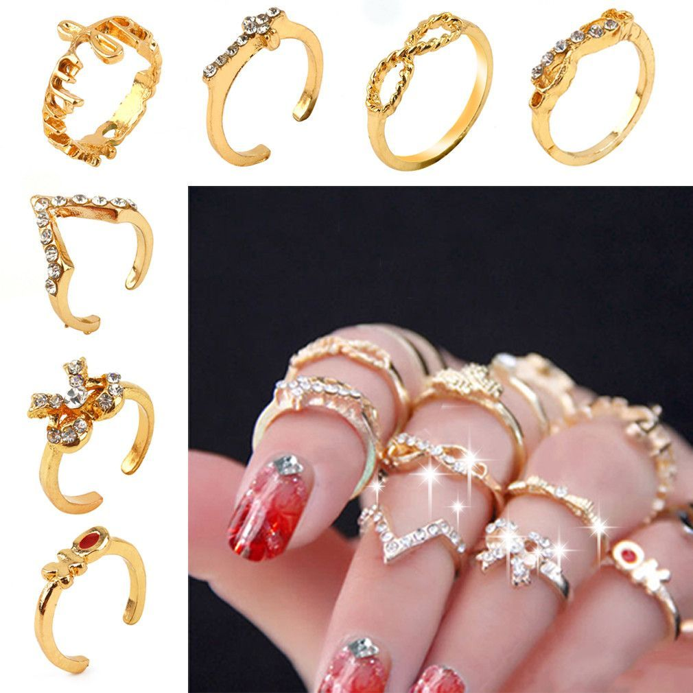 7PcsSet Rings Urban Gold stack Love Forever Bow Ribbon Knot Cross Top of Finger Over The Midi Tip Above Knuckle Band Ring