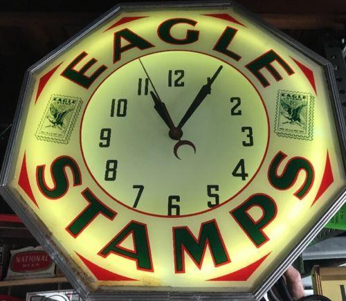 Vintage eagle stamps 10 cent octagon neon light up wall hang clock vintage eagle stamps 10 cent octagon neon light up wall hang clock rare aloadofball Images