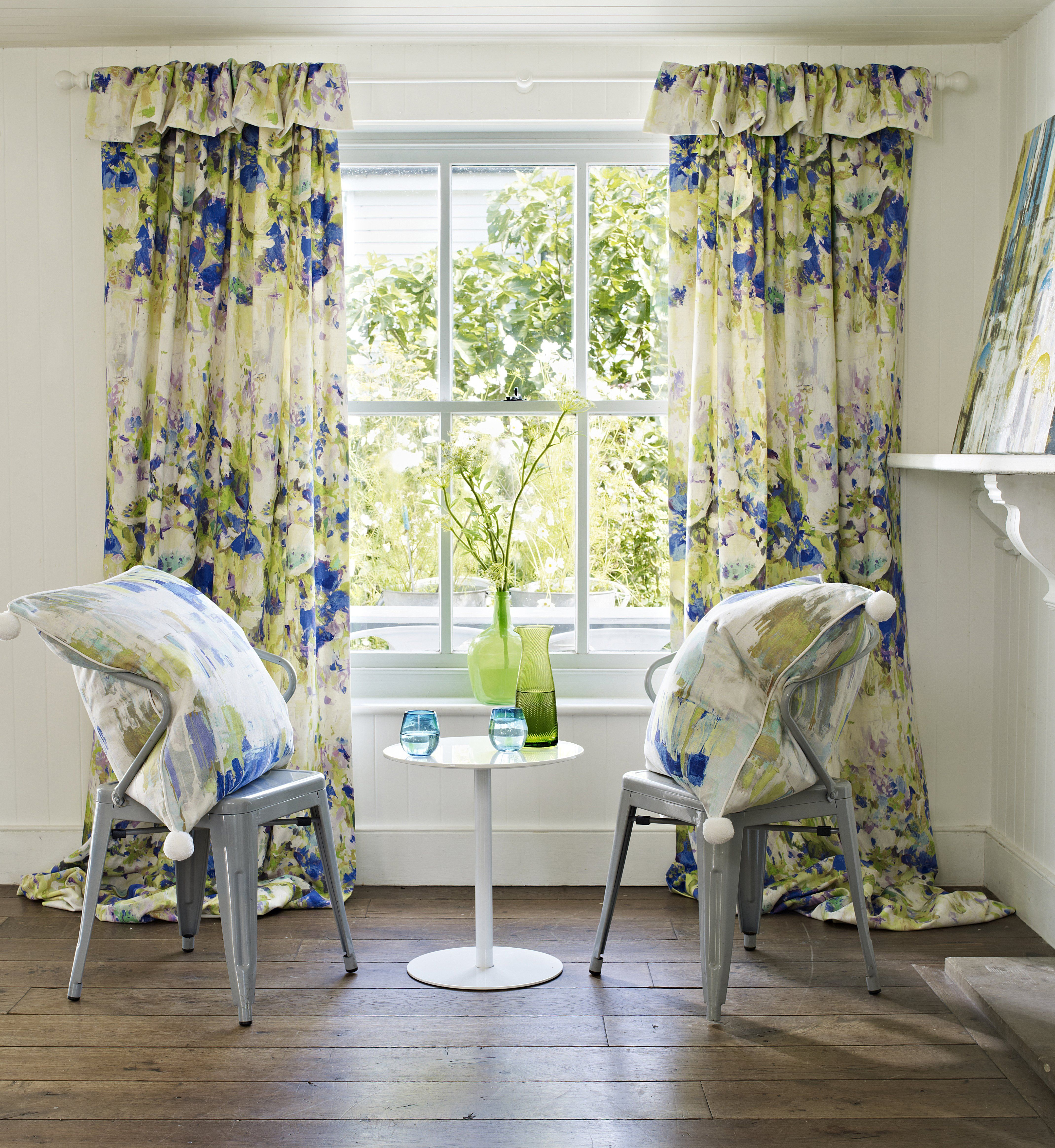 Blue And Yellow Floral Window Curtains By Clover And