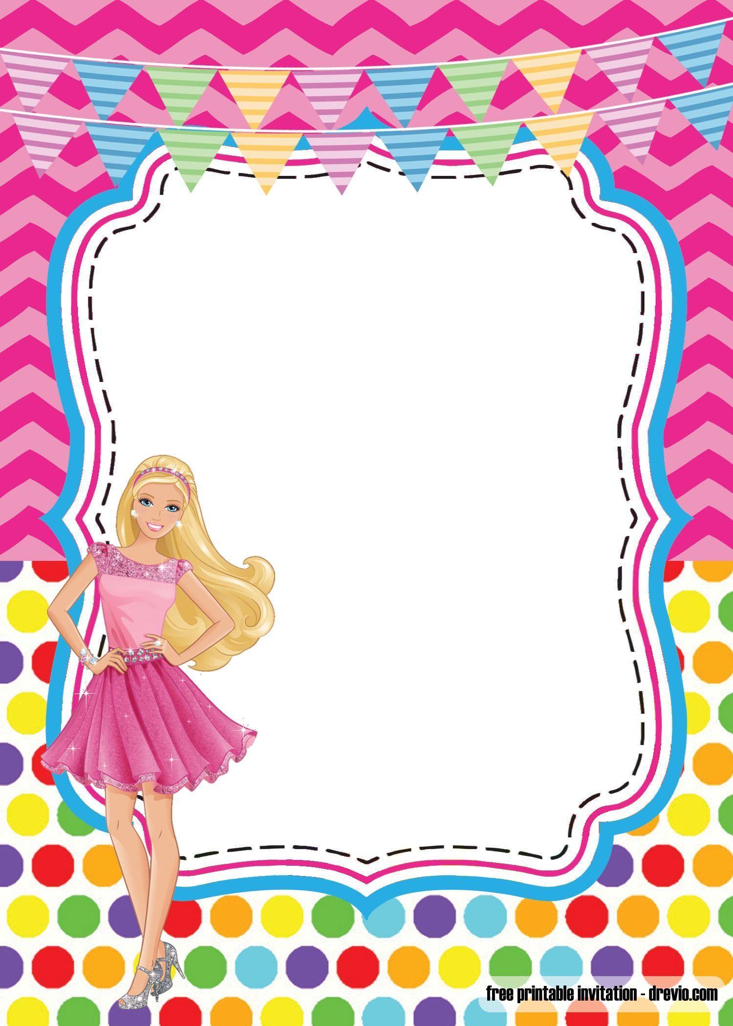 Editable Barbie Invitation Template Blank  Invitaciones de barbie