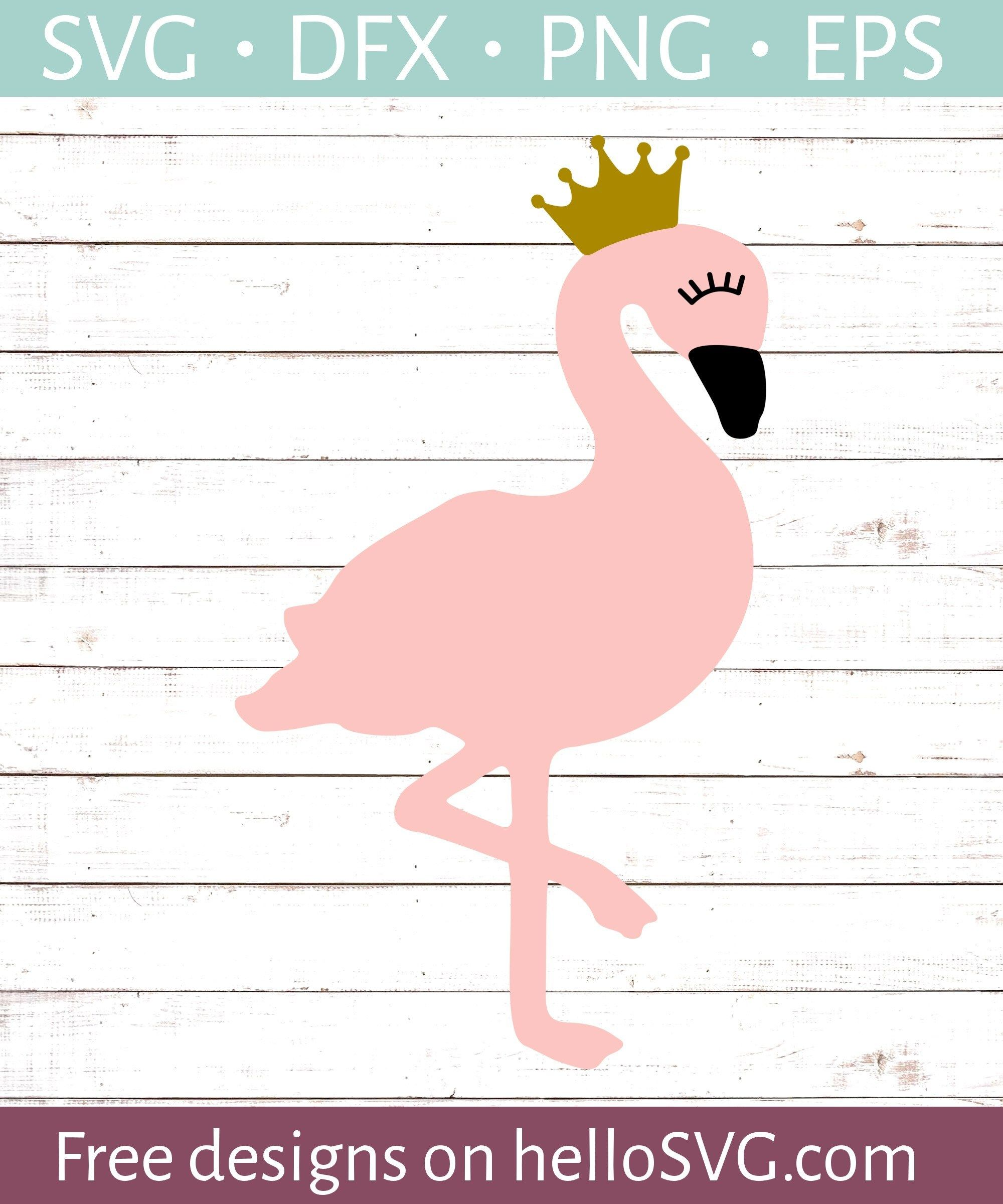Princess Flamingo with Crown SVG - Free SVG files | HelloSVG