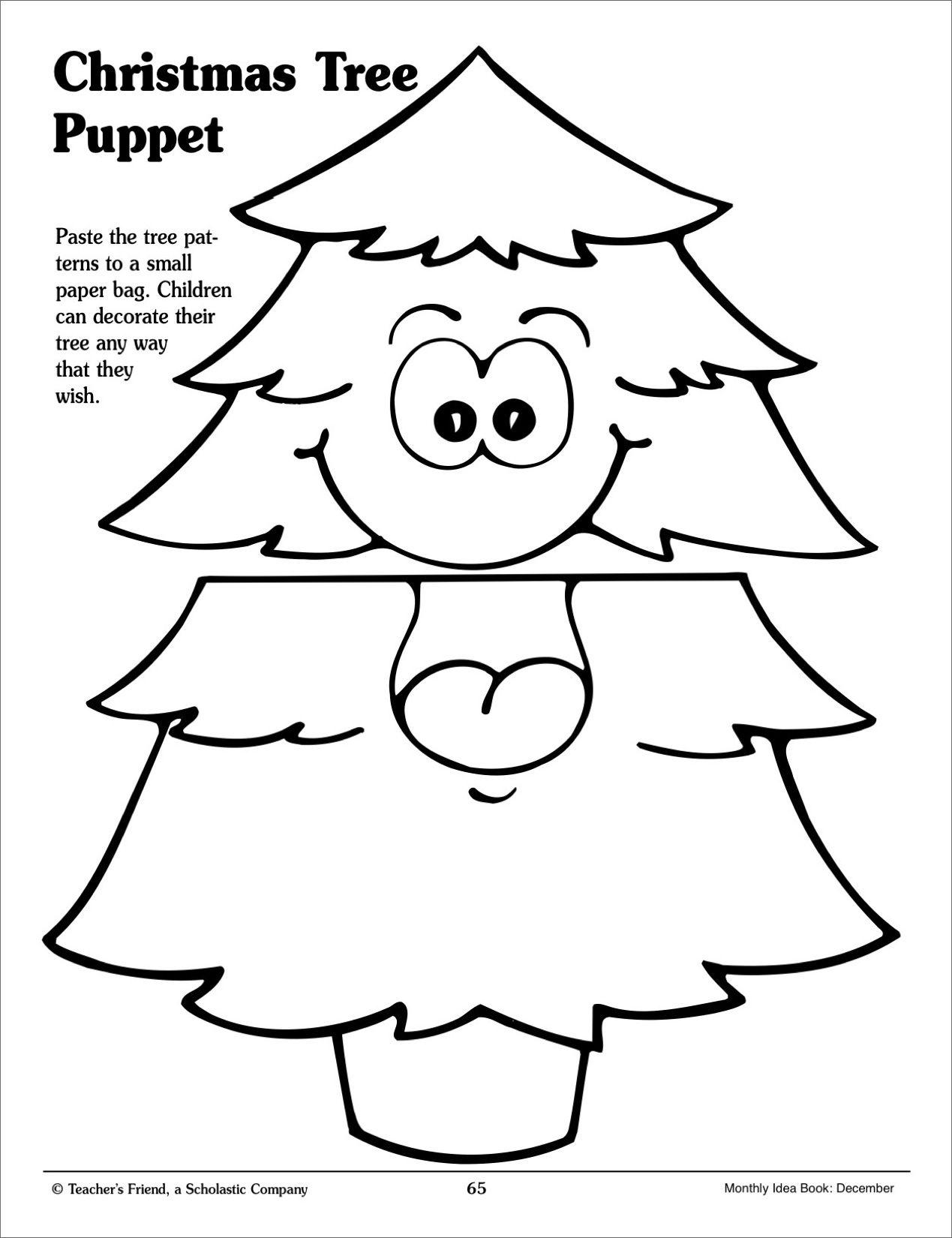 Christmas Tree Paper-Bag Puppet (Pattern)} - Printables | Teacher\'s ...