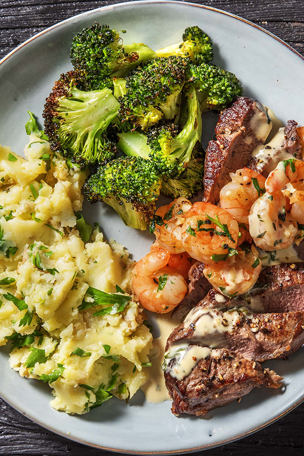 Classic Surf And Steak Dinner With Tarragon Cream Sauce Recipe Food Recipes Steak Dinner Recipes Healthy Recipes
