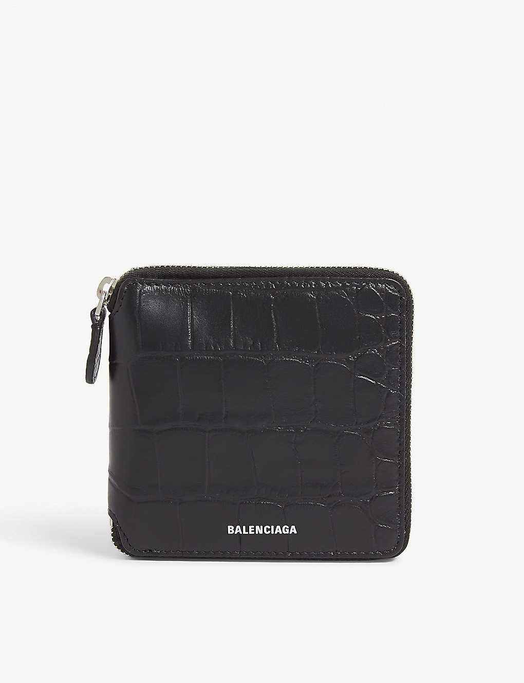 Croc Embossed Leather Wallet Embossed Leather Balenciaga Wallet Wallet