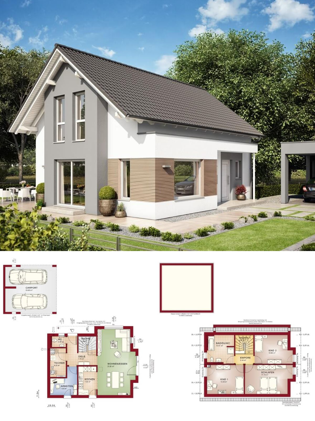 einfamilienhaus architektur klassisch mit satteldach & doppelcarport