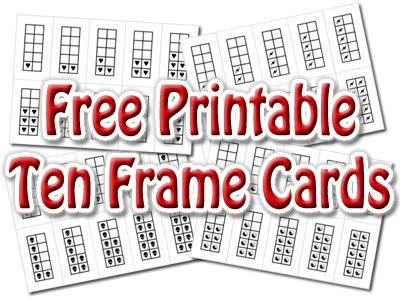 Printable Ten Frame Cards -- Including Valentine Heart Frames And