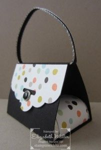 Super cute Sweet Sorbet designer paper Scalloped Tag Topper punch purse with chocolate nuggets.
