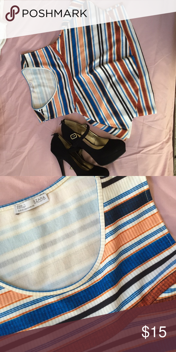Zara Collection striped top NWOT multicolored Zara Collection top. Super cute classic top that would go with a black skirt or jeans. S Zara Tops Blouses