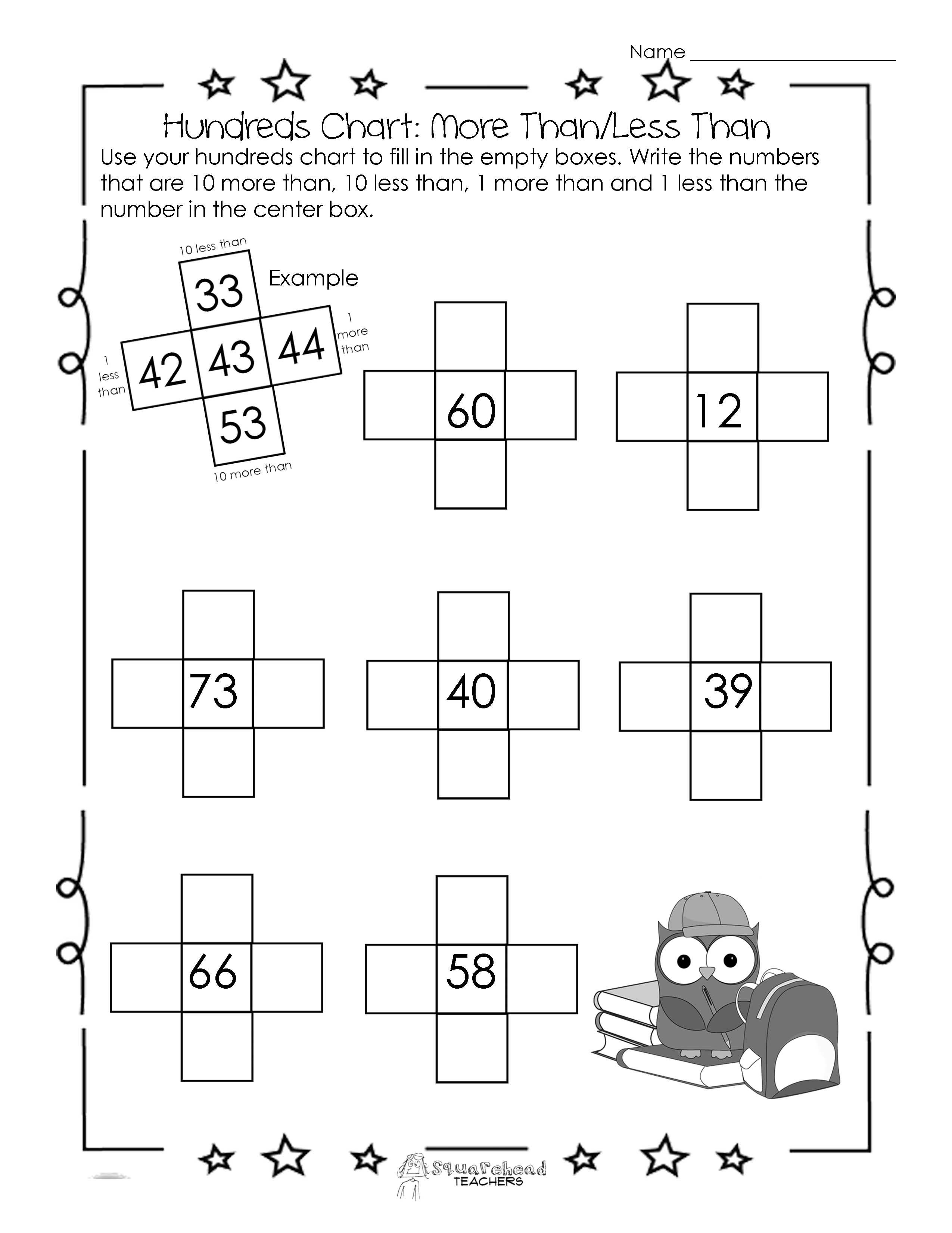 worksheet More And Less Worksheets squarehead teachers hundreds chart worksheet 10 more than10 less than