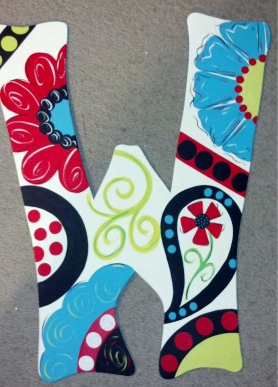 Painted wooden Initial Door Hanger with flower and paisley design ...