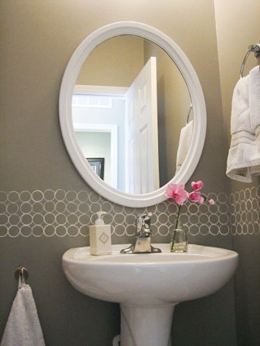 Small Bathroom Idea Remodelaholic Free Diy Modern Painted Border Idea