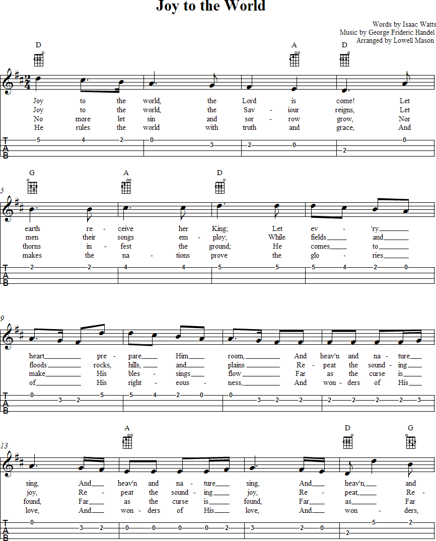 Sheet Music And Lyrics To Joy To The World: Joy To The World Ukulele Sheet Music Page 1