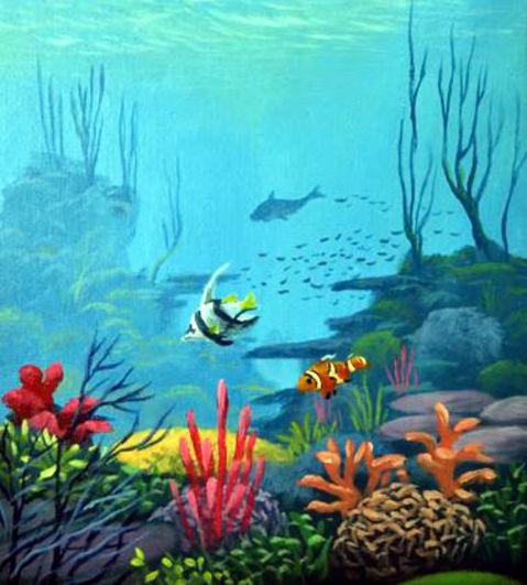 Dessin et peinture vid o 2090 un paysage sous marin - Dessin sous marin ...