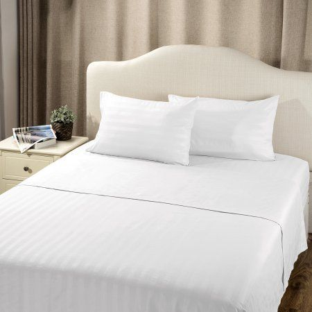 Bedsure Solid Wrinkle Free Damask Sheet Sets Deep Pocket Stripe Bed Sheets    Damasks And Bedrooms