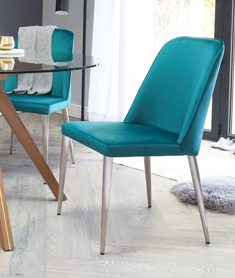 Bay velvet and brushed steel chair dining chairs uk