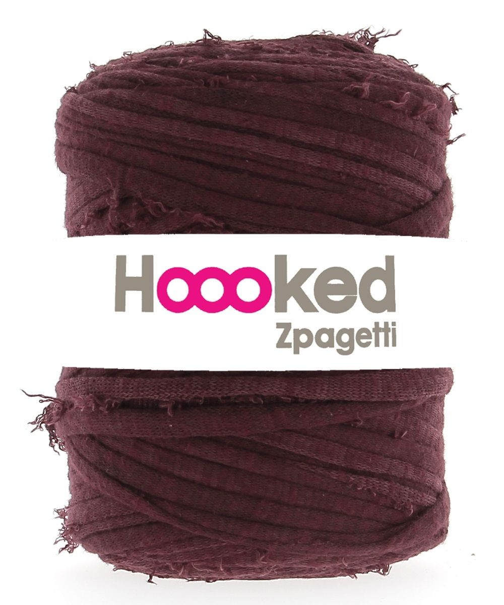 Zpagetti Fuzzy in Dolce Merlot from Hoooked. The fuzzy yarn is great for adding a texture to chunky knits and I love it for snoods and scarves. I would love to arm knit a big throw in!