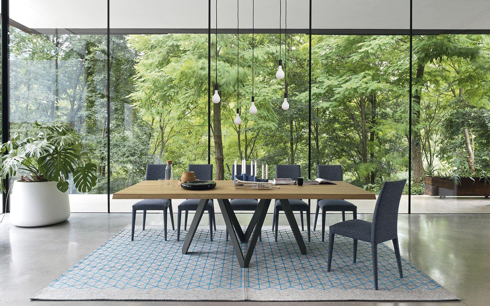 Tavolo in legno con base in metallo Cartesio - Calligaris CS/4092-R ...
