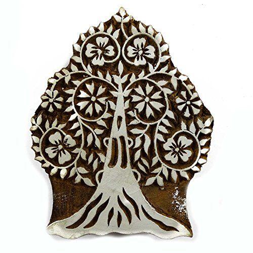 Indian Wood Tree Printing Block Handcraved Textile Stamps Wooden Blockprint