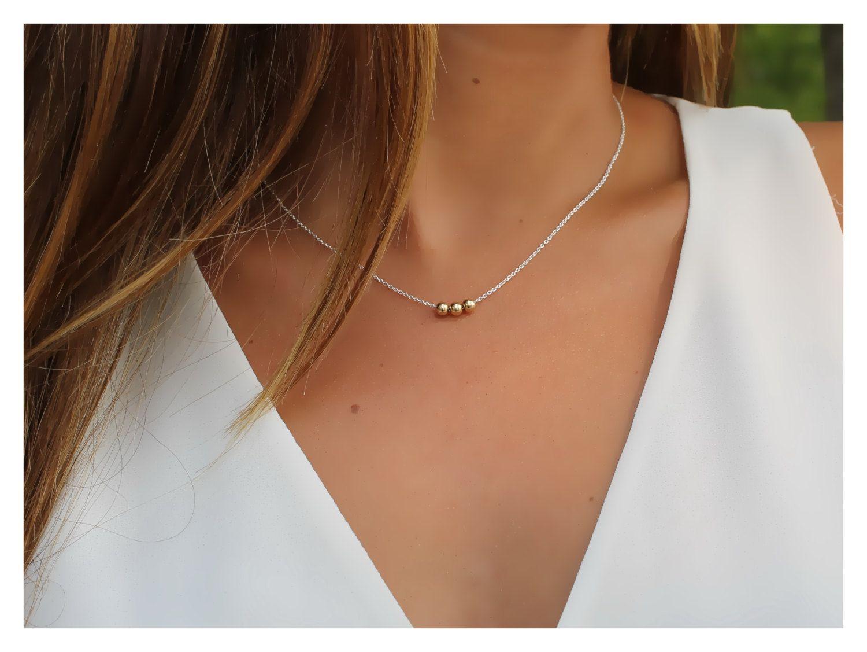f0e8cd0ae927e7 Dainty gold necklace, ball necklace, round gold filled beads necklace, 14K  gold filled round ball, beaucoup de beads by BeaucoupdeBeads on Etsy