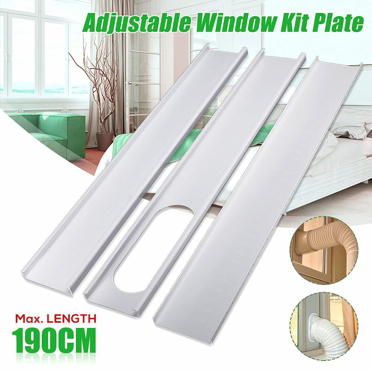 3pcs Adjustable 190cm Air Conditioner Window Slide Pvc Plate