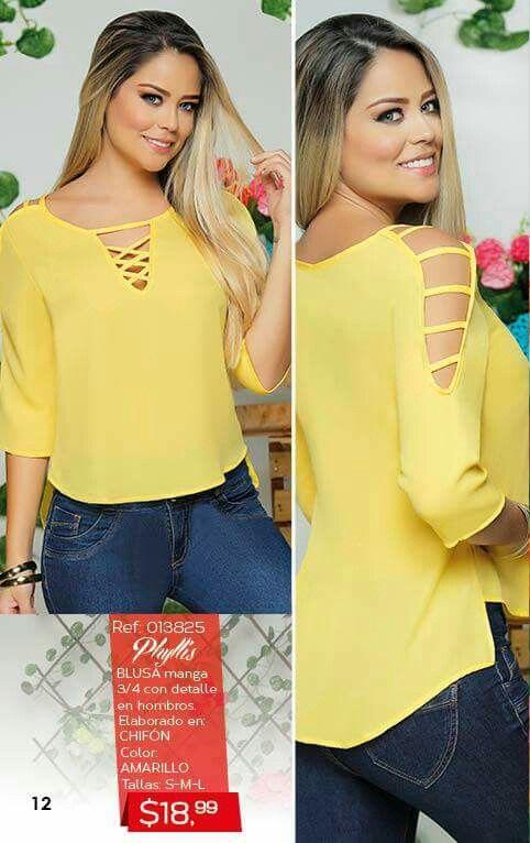 Tela amarilla Blusa Y Pantalon c19b4d0f5ebf