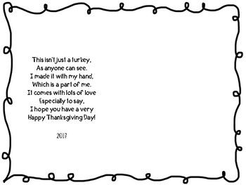 Thanksgiving Craft Handprint Turkey Poem