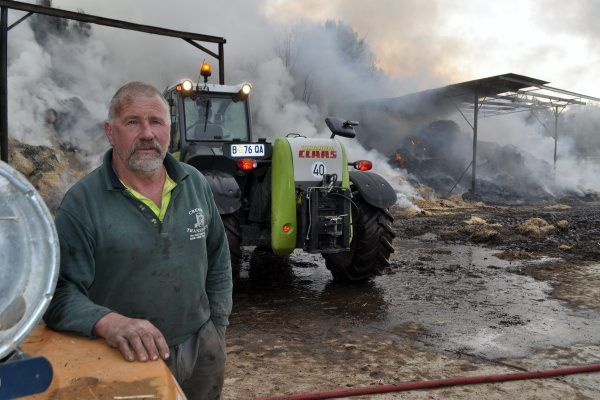 Two barns at Peter Davey's Cressy property were destroyed in a $100,000 fire.