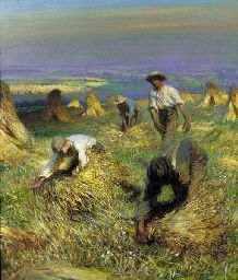 George Clausen (1852-1944): Harvest, tying the sheaves, 1902