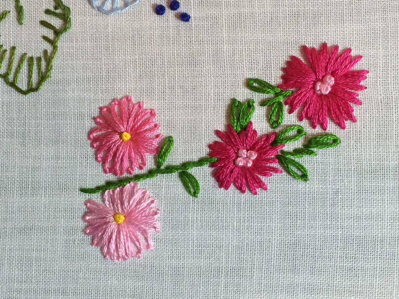 MooshieStitch: Lazy Daisy Stitch Flowers   Embroidery   Lazy daisy