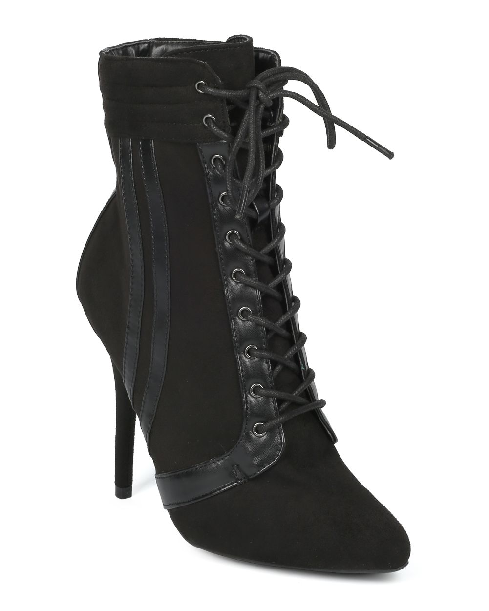 Women Pointy Toe Lace Up Sports Stripe Stiletto Ankle Boot - HF27 by Wild Diva Collection