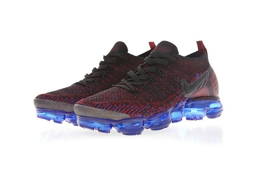 4b34cad63f2c 2018 Factory Authentic Nike Air Vapormax Flyknit 2 0 Black Dark Reddish  Purple Blue 942843 006