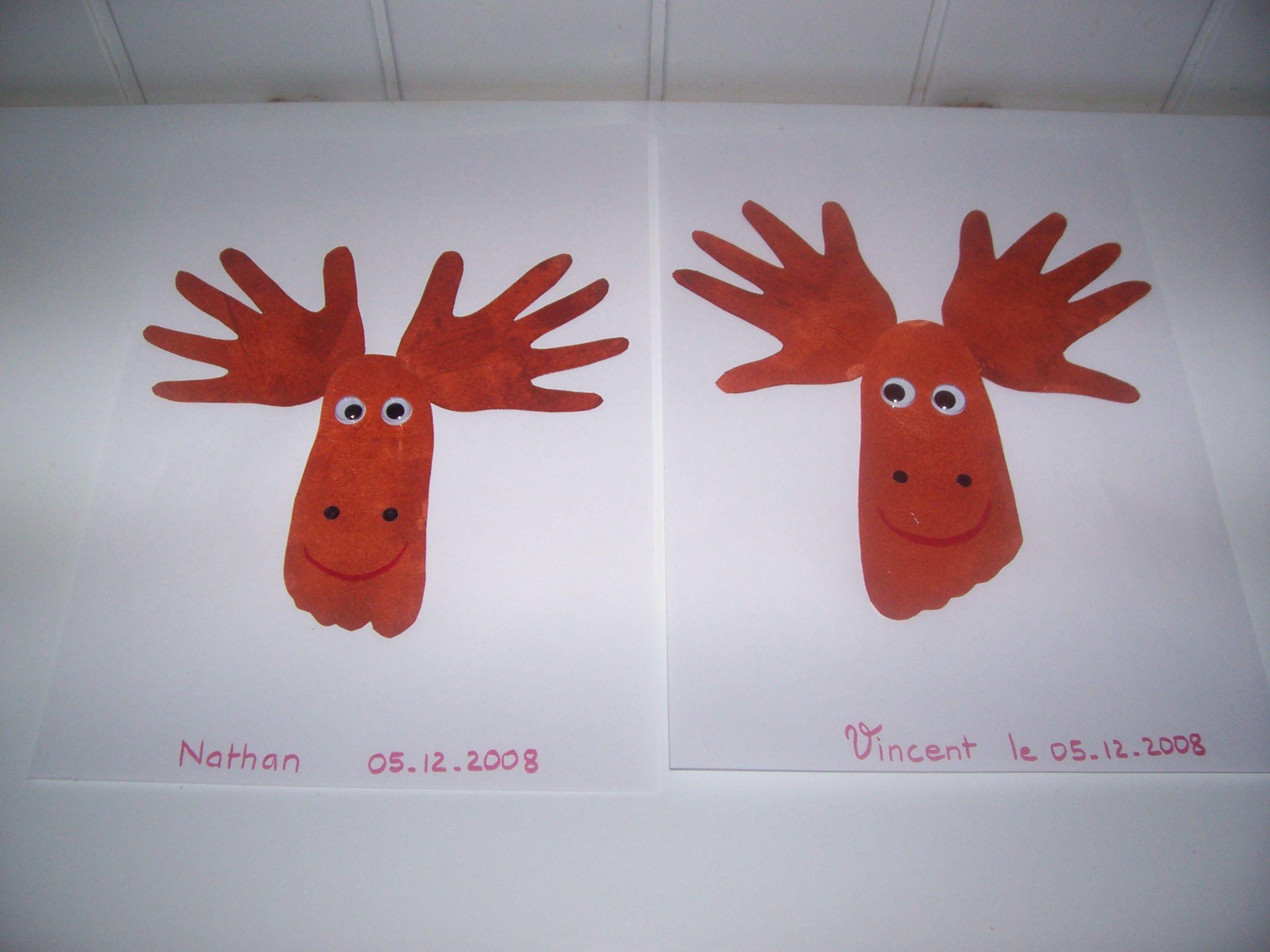 Activité Manuelle Noël se rapportant à les rennes du père noël, avec les empreintes de mains, et de pieds