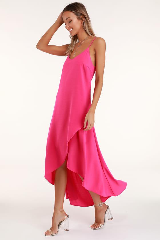 Sweet Surprise Bright Pink High Low Maxi Dress Bright Pink Dresses Bright Pink Maxi Dress Pink Maxi Dress