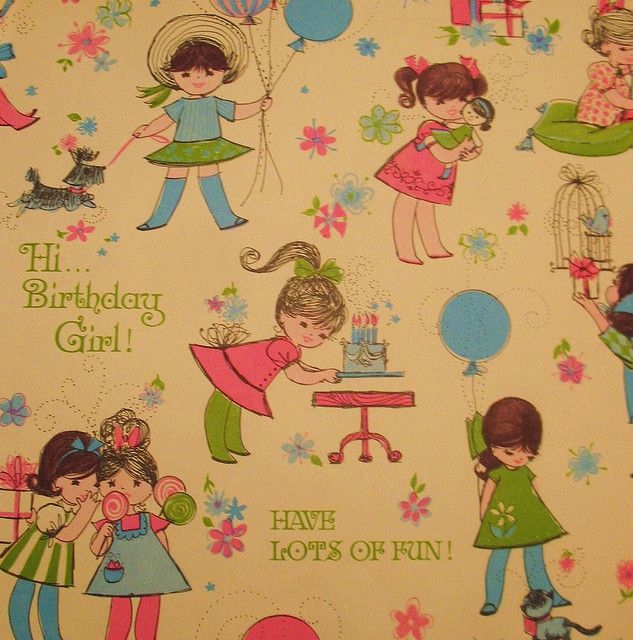 1960 S Girly Birthday Wrapping Paper Vintage Birthday Birthday Wrapping Paper Vintage Wrapping Paper