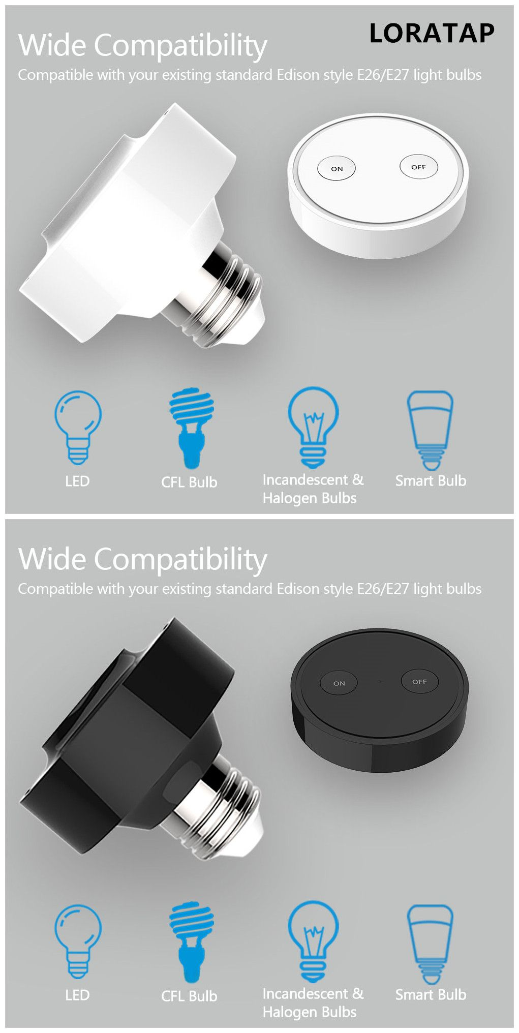 Loratap Focus On Wireless Light Switch Bulb Adapter Product Easy Installation Remote Control 53 Year Wa Wireless Light Bulb Light Bulb Adapter Bulb Adapter