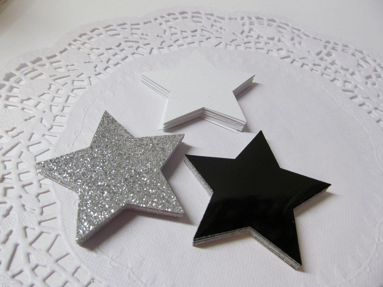 Silver Glitter, Black & White Stars - Gift Tags - Favors - Star Die ...