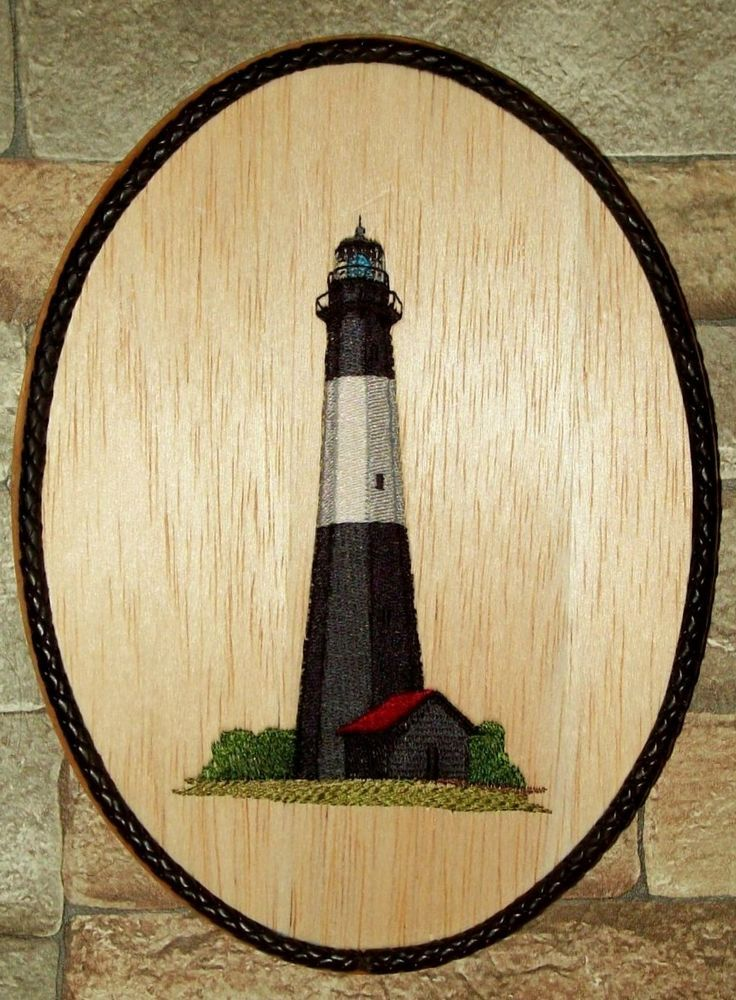 Tybee Island Lighthouse MultiColor Nautical Wall Decor/Embroidery on ...