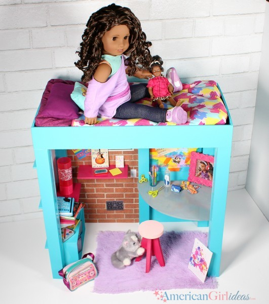 DIY American Girl Gabriela Loft Bed • American Girl Ideas | American Girl Ideas #americangirlhouse