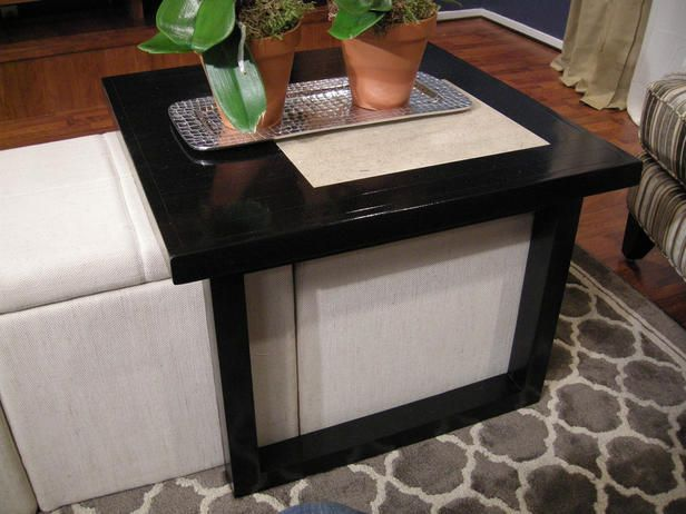 Build A Coffee Table To Fit Over Storage Ottomans Diy Storage