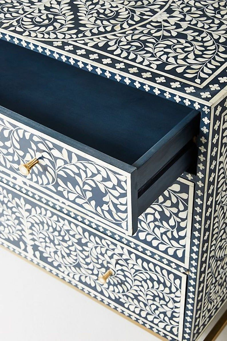 Bone Inlay Floral Design Chest of 3 Drawers Indigo